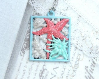 Ocean Pendant Necklace Shell Pendant Necklace Starfish Pendant Necklace Ocean Gift Nautical Necklace