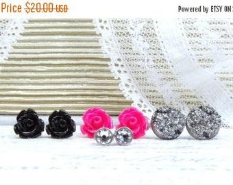 Set Of 4 Gothic Earrings Rose Stud Earrings Earring Gift Set Surgical Steel Studs Stud Earring Set