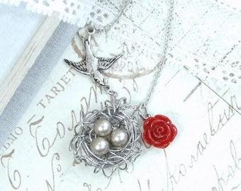 Nest Necklace Egg Nest Necklace Woodland Necklace Nest Jewelry Mother Necklace Bird Nest Necklace