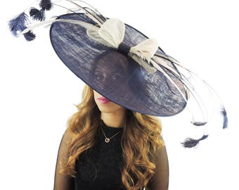 Extra Large Navy & Cream Bow Feathers Fascinator Hat  for Weddings, Occasions and Parties **SAMPLE SALE