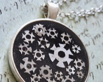 Steampunk Watch movement pendant  - Steampunk Necklace -Made with vintage watch gears -  Repurposed art