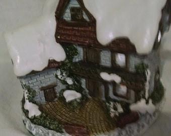 Vintage Ceramic House /  Christmas Village / Holiday Display / Lighted Village Piece / Christmas Decoration