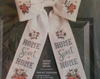Bow Ties 08103 Home Sweet Home Cross Stitch Kit by Joan Marchie Unique Cross Stitch Door Decoration New Unopened Condition