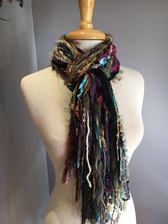 Fringie in Trendsetter, Aqua purple black scarf, handmade fringe scarf with knots, chunky scarf, Funky Scarf, fringe fashion scarf, boho