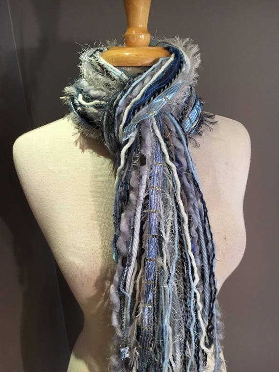 Fringie 'On Cloud 9', All Fringe Scarf, Handmade hand-tied art fringe scarf in pale blue white grey, bohemian, gifts, long scarves, tribal