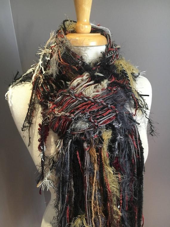 Funky handmade Knit Scarf with art yarns, 'Barnwood', Hand knit soft artwear Scarf in Black burgundy grey, bohemian, gypsy, artwear, plush