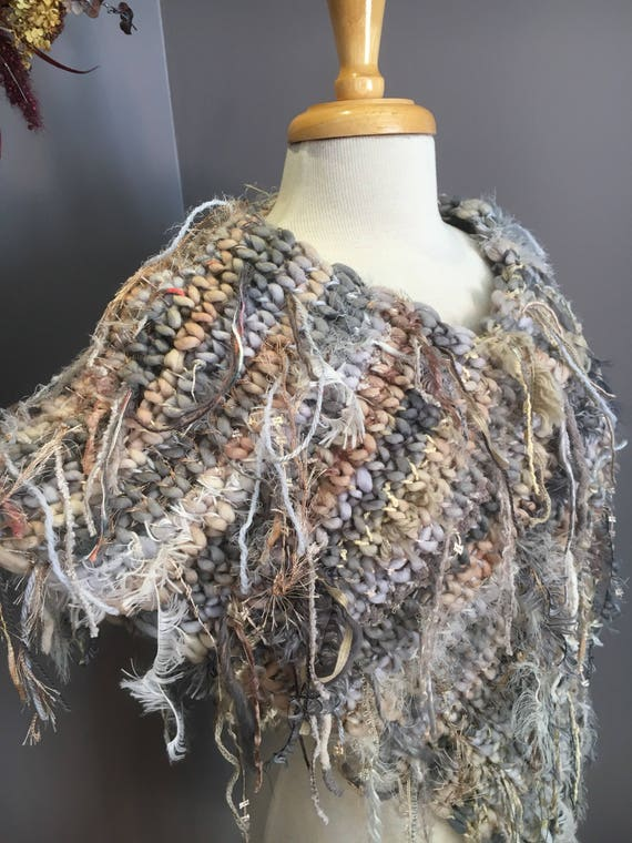 Hand knit poncho, tapered wrap, Dumpster Diva 'Ivory Coast' Fringed Ponchos, one of a kind, handspun mohair, bohemian, cream grey poncho