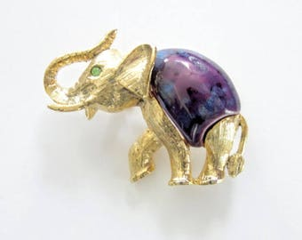 Elephant Ceramic Belly Pin Gold Plate Trunk UP Vintage