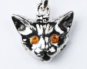 Sterling Silver Kitty Cat Charm with Yellow Citrine Eyes