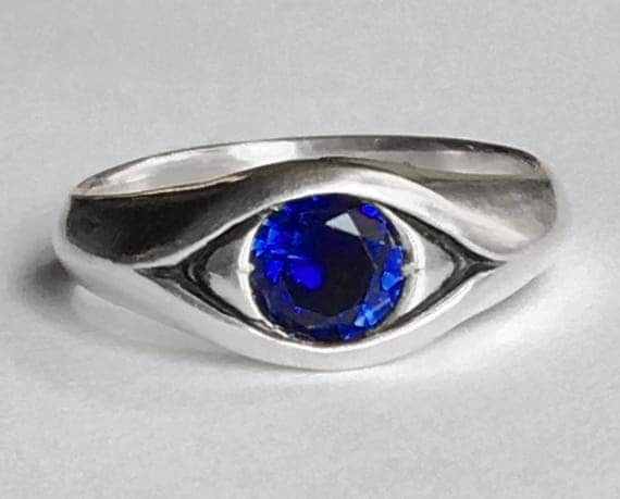 Large Sterling Silver Blue Sapphire Eye Ring-September Birthday