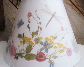 Botanical Lampshade With Real Pressed Flowers, Dragonfly Lamp Shade, Pastel Colors Helipterum, Delphinium, Alyssum Floral Design Lampshade