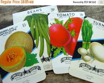 ONSALE Antique Empty Seed Packets Unused Vintage Vegetable Garden Seed Ephemera 24
