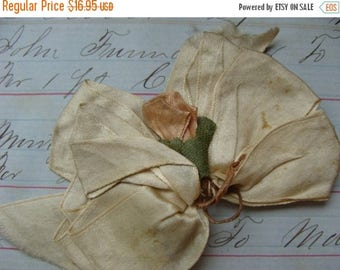 ONSALE Beautiful Intoxicating Aged Antique Pink Rose Silk Ribbon Luxurious Wedding Appliqué Very Old