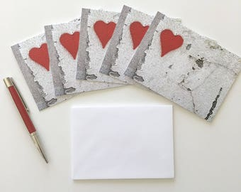 Valentines Day Cards, Red Heart Valentine Cards Set of Five, Blank Notecards with Envelopes, Red Heart Cards, Romantic Greeting Card Set
