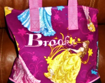 Disney Princess with Flowers Child Tote / School Tote / Book Travel Bag / Overnight Bag / Embroidered with Childs name