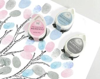 three winter ink pads for wedding fingerprint guest book tree or baby shower tree - blue, grey, pink - momento dew drop tsukineko inks
