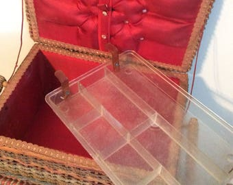 German Sewing Basket, Antique, Red silk lined with compartment