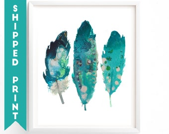 PRINT Feathers print, Feather Wall Art, Turquoise Feathers, Painting of Feathers, Boho Decor, Dorm Room, Nursery Art