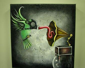 Humdinger Fling Cute Lowbrow Art Original Hummingbird Victrola Fetish Painting