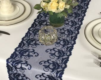 Navy Blue Lace Table Runner Wedding Table Runner LBN05