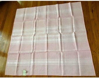 Vintage 1950's Deadstock Pale Pink Damask Aztec Spun Rayon Square Tablecloth with tag