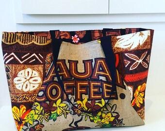 Kauai Coffee Company burlap Tote/ Beach Bag/ Market Bag/ Honeymoon