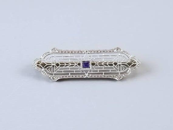 Antique Art Deco 14k white gold square cut natural blue sapphire filigree bar pin brooch signed Krementz