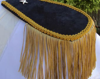 Mens Military Style Midnight Blue/Black  Suede Look Epaulettes with Gold Tassel  FREE SHIPPING!!