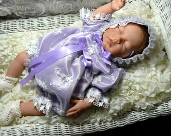ROMPER Lavender Satin White tulle with pearls, embroidery for REBORN or BABY