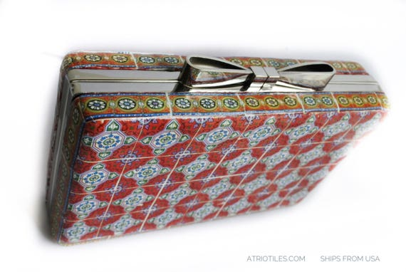 Clutch Purse Portugal Tiles Azulejo RED Antique Majolica - Wedding - Evening  History Statement Piece - Valega