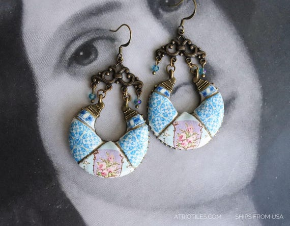 Portugal Antique Azulejo Tile Earrings with Palace Frescoes Palacete Visconde Granja Bohemian Provence Renaissance Romantic French Faberge