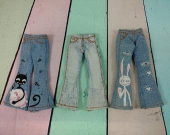 Jeans for Takara Blythe, Neo Blythe, Pullip, Azone, Momoko, Obitsu, Pure Neemo or similar size doll