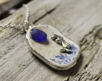 ON SALE English Sea Glass Pottery Mermaid Necklace