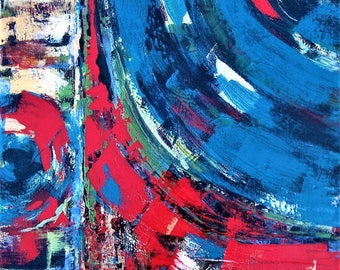 """Original Contemporary acrylic painting, 24"""" x 24"""", Red and Blue, Modern Home Decor, Abstract art, gift idea"""