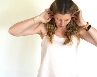 Women's Organically Dyed 100% Blush Pink Natural Linen Razor Back Spaghetti Strap Tank Top.
