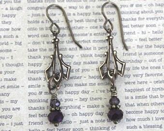 Vintaj Jewelry, Bohemian Jewelry, Vintage Jewelry, Purple Earrings, Boho Jewelry, Gift, Crystal Jewelry, Teardrop Earrings, Brass Earrings