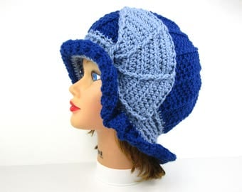 Blue Cloche - Crochet Hat - Women's Hat - 1920s Cloche Hat - Brim Hat - Merino Blend - Flapper Cloche - Crochet Accessories