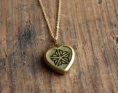Flour City Vintage Brass Locket 16k Gold Dainty Chain- Rochester NY Logo Gold Heart Pendant Necklace
