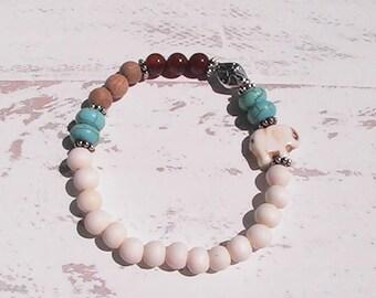 diffuser beaded bracelet. whitewood bracelet. stretch bracelet. handcrafted jewelry.