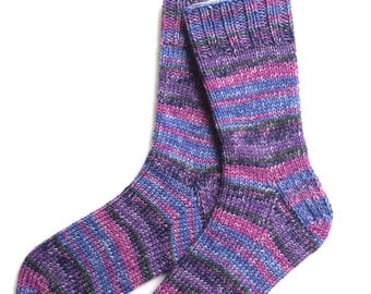 Socks for Women and Girls, Hand Knit, wool and nylon, knitted socks, worsted weight, blue lavender dusty rose charcoal, OOAK, heavy socks