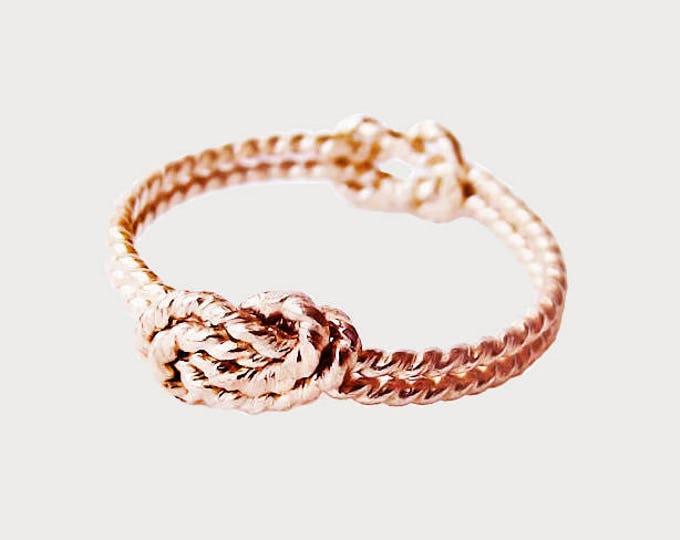 14K Rose Gold Delicate Secret Love Knot Promise Ring