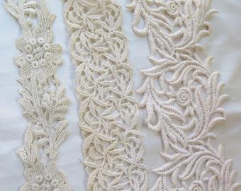 Antique Lace Remnants Schiffi and Raised Leaf/Floral Motifs 3 Pieces