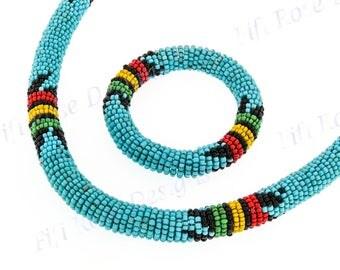 Ethnic Style Turquoise Black Yellow Handmade Stretch Necklace %26 Bracelet Set