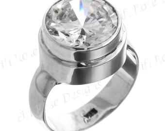 Big 4.5ct White Quartz 925 Sterling Silver Sz 6 Ring