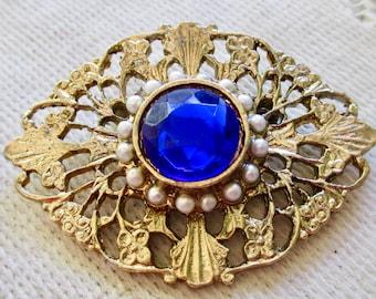 Beautiful Vintage Blue Rhinestone Brooch with Faux Seed Pearls