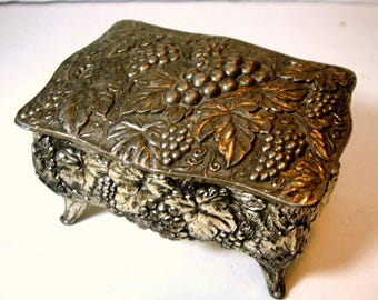 Wine Lovers GRAPE Motif Box, Tiny Hinged Metal Trinket Container on Legs, Ornate, 1950s, Japan, Jewelry Stash, Red Lined