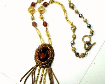 Gold Tassel Pendant on Ornate Beaded Chain, Deep Topaz Glass,  1960s Artsy and Elegant Necklace
