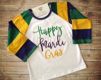 Embroidered Happy Mardi Gras Purple Green and Gold Raglan T-shirt  for Girls