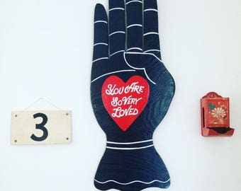 You Are So Very Loved Folk Art Hand Sign