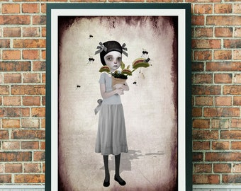 A3 Art print - Large Print - Big Eyed Girl - Venus Fly Trap - Venus
